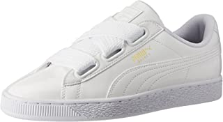 Puma Women's Basket Heart Patent Low-Top Sneakers White (White-white) 6 UK