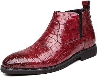 FUNPLUS Hommes Chelsea Bottes en Cuir Classique Chaussures de fête de Mariage Automne Hiver Bout Pointu Bottines Mode Chau...