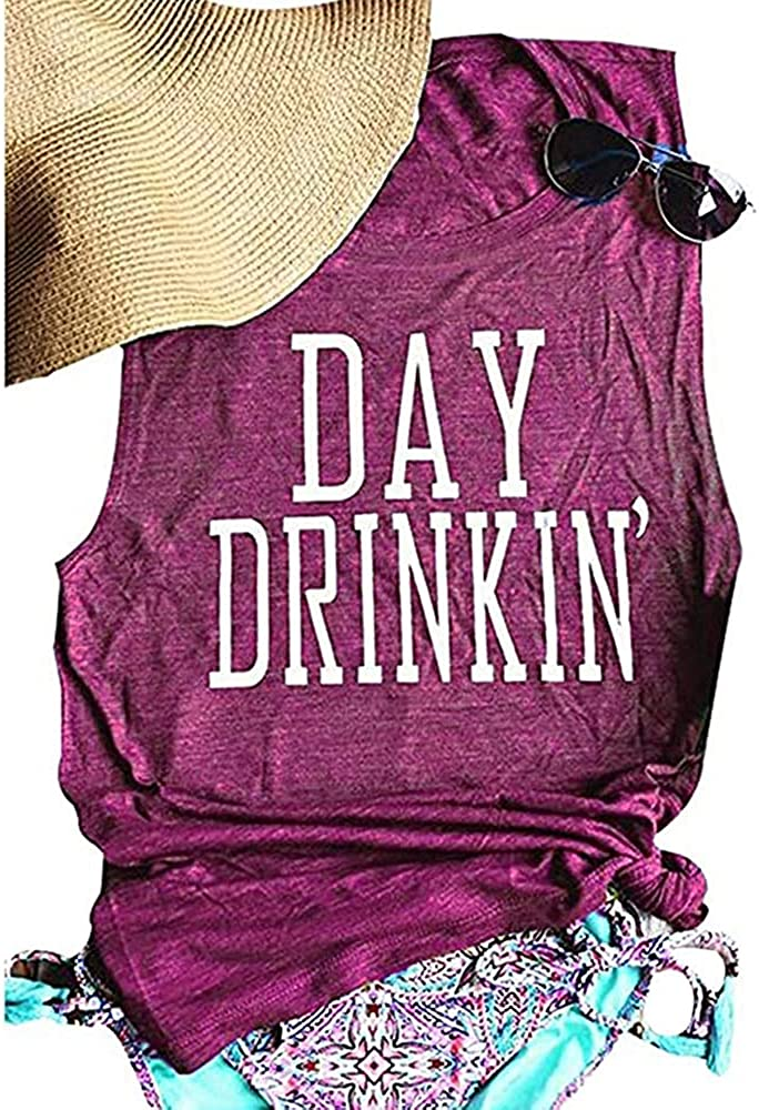 Fashionable Women's Summer Day Drinkin' Casual Tops Round-Neck Ca Purchase Tank Loose