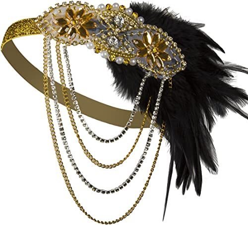 Vijiv Gold Inspired 1920s Flapper Headband Accessories Gatsby Style 20s Headpiece