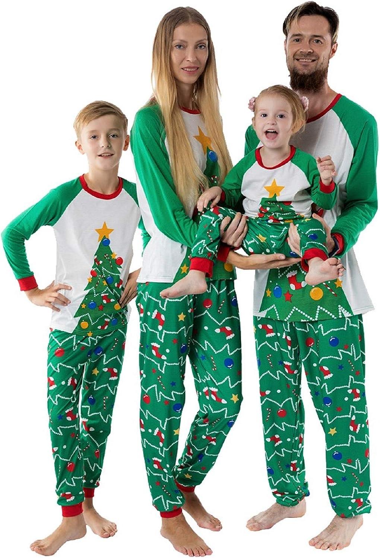 Christmas Tree Pajamas Family Matching Sleepwear Cotton Kids PJs Pants Set