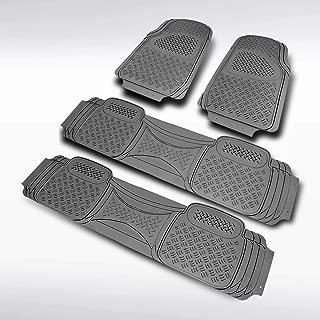 Autozensation 4PC Front+Rear Heavy Duty PVC Rubber Gray 3D Floor Mat Carpet Truck Semi-Custom