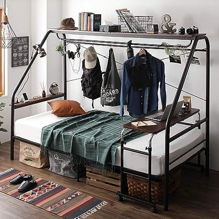 ベッド 巣ごもり すのこ パイプ スチール 宮付き 棚付き デスク付き ハンガー付き 大容量 収納 シンプル モダン ビンテージ ブラック S ベッドフレームのみ