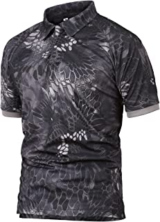 QCHENG Men's Performance Polo Short Sleeve Tactical Military Shirt Cargo Pullover Outdoor T-Shirt Army Combat Shirts