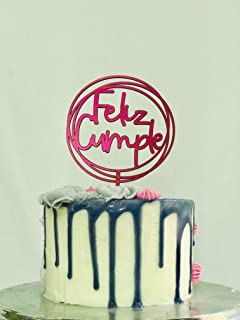 Los Letreritos. Feliz cumple. Happy Birthday Adorno Pastel, Letrero para adornar pastel de cumpleaños, Cake Topper, sumini...