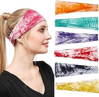 Ultrafun 6 Packs Sports Headbands Elastic Lightweight Workout Bandana Sweatbands Unisex Moisture Wicking Hairband for Yoga...