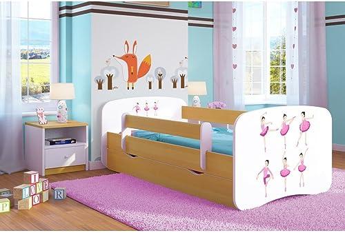 CARELLIA Kinderbett Ballerina, 80 cm x 160 cm, mit Sicherheitsgitter + Polsterbett + Schublade + Matratze - Chene Clair