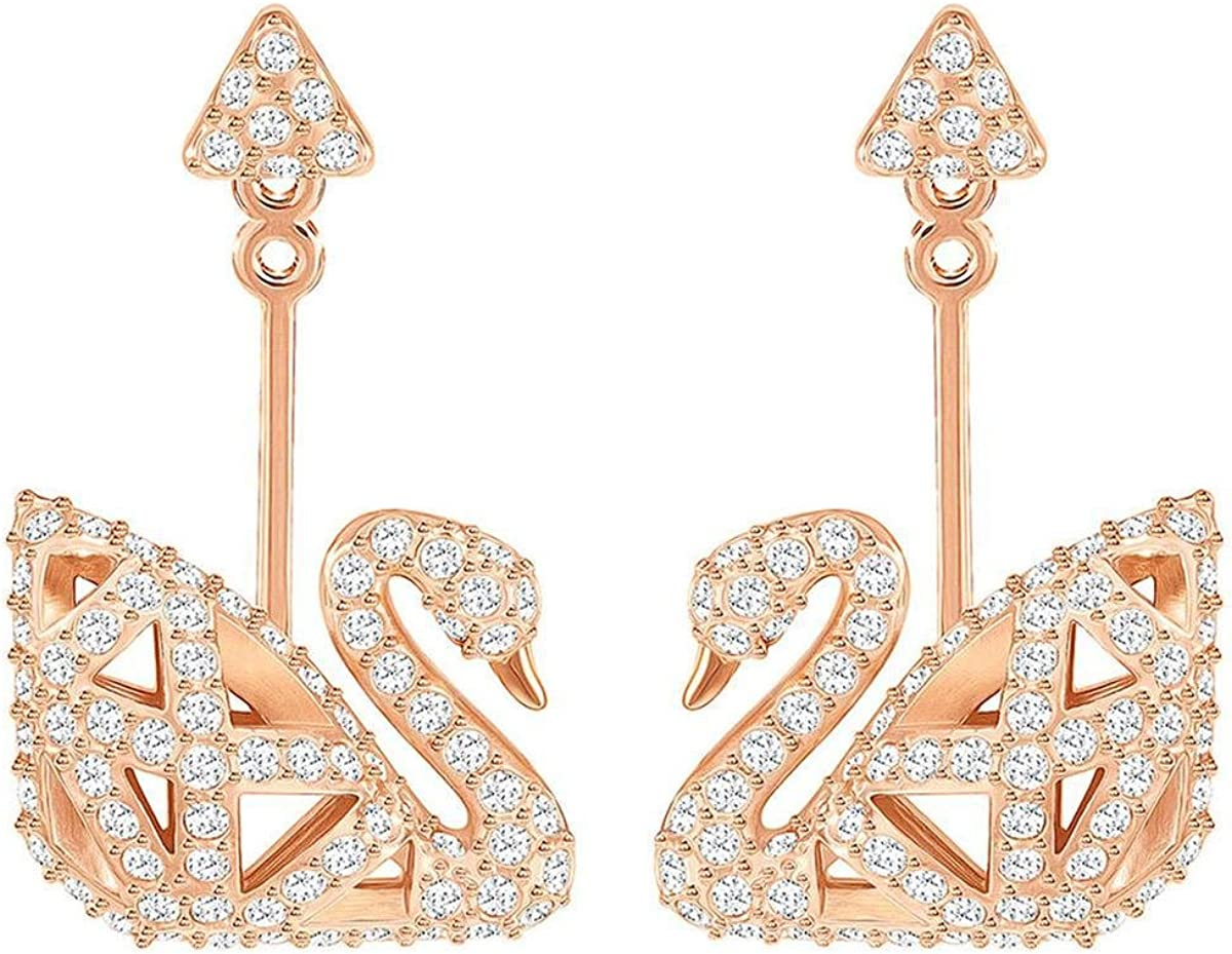 Swarovski Crystal Facet White Swan Rose Gold-Plated Earrings