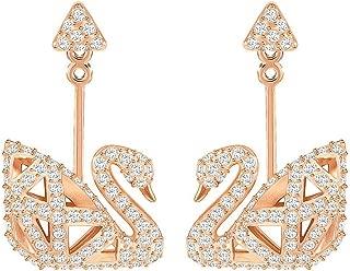 Crystal Facet White Swan Rose Gold-Plated Earrings
