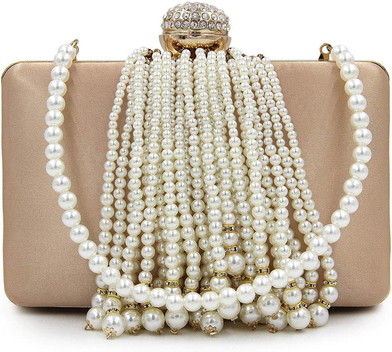 Yammucha Perle Quaste Abendtasche Clutch Bag hochwertige Diamant Perlen Perlen Perlen Abendkleid weiblichen Beutel Perle Kette (Farbe   Silber) B07P9QWP8C  Qualität 2ead63