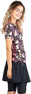 Modest Swimsuit for Women: Short Sleeve Rash Guard Swim Shirt & Swim Skirt w/Leggings (S-3X) UPF 50+