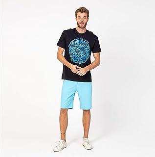 Camisa Casual T-shirt Preta Flores Azul