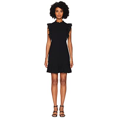 Rebecca Taylor Sleeveless Crepe Lace Dress (Black/Black) Women