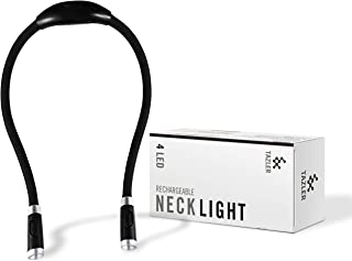 TAZLER Rechargeable 4 LED Neck Light, 3 Brightness Levels, 2 Flexible Soft Silicone Arms (Black)