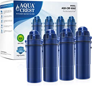 AQUACREST CRF-950Z Pitcher Water Filter, Compatible with Pur Pitchers and Dispensers PPT700W, CR-1100C, DS-1800Z and More (Pack of 4) (Packing May Vary)
