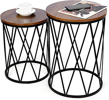 amzdeal Nesting Side Table, Set of 2 Stacking Coffee Table for Living Room, End Tables with Metal Frame Modern Industrial Dec