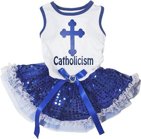 Catolicismo mascota suministro Cruz Camisa Blanca Azul ...