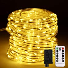 B-right Led Rope Light Outdoor, 72ft 200 Led Dimmable String Light Rope Plug with Remote, 8 Modes Extendable Waterproof Rope String Light for Bedroom Party Christmas Indoor Outdoor Decor, Warm White