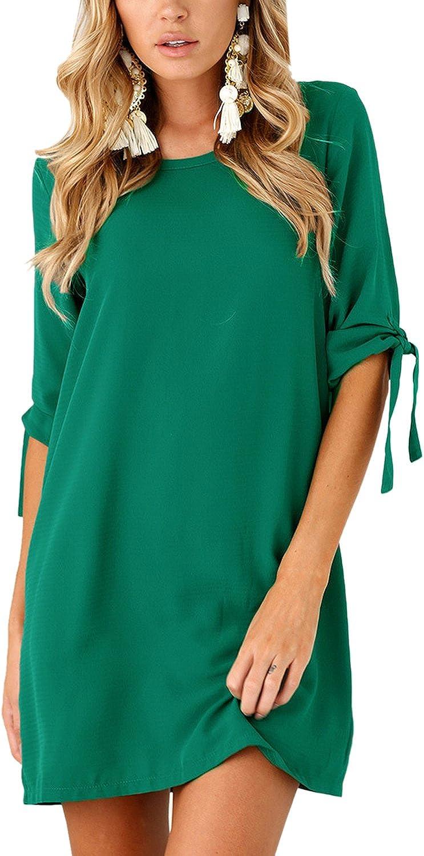 Nimpansa Women Shift Mini Dress Chiffon Plus Size Drawstring Sleeve Daily Dresses