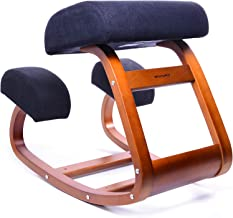 Ergonomic Office Chair, WishaLife Kneeling Chair Rocking Posture Wood Stool for Home Office & Desk Chair  Orthopedic Stool Relieving Back and Neck Pain & Improving Posture   Larger Seat,Thick Cushions