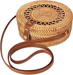 Round Rattan Bag for Women Straw Bag Handwoven Beach Bohemian Shoulder Purse by Enmain