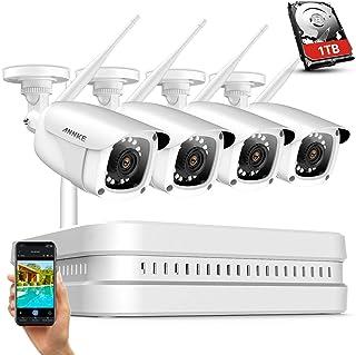 ANNKE Sistema de cámara Seguridad inalámbrica 1080P NVR 8CH y 4* 200W WiFi Cámara IP Wireless IP66 Impermeable IR Visión Alarma por Correo electrónico Compresión H.264+ Incluye 1TB Disco Duro