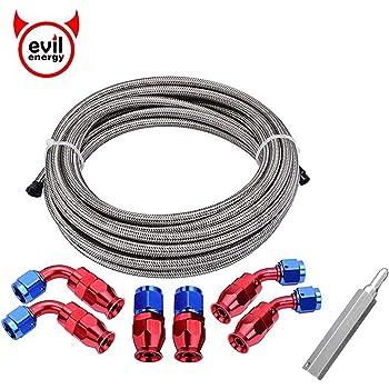 8 AN8 PTFE Black Swivel Fittings /& Stainless Steel Fuel Line Hose Kit E85 20FT PTFEAN8/_KIT/_DA/_BLACK
