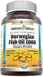 Amazing Omega Norwegian Fish Oil - 1000 Mg, Softgels - Supports Anti-inflammatory, Heart, Joint & Brain Health (Orange, 120 Softgels)