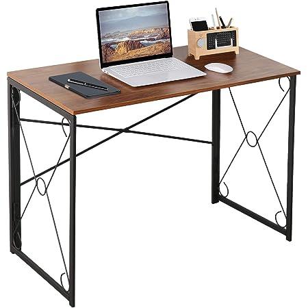 VECELO Bureau Informatique, Table de Bureau Pliante Style Industriel Bureau en Bois et Métal pour Enfants Adultes Gaming-100x50x75 CM