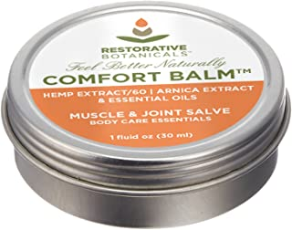 Comfort Balm Hemp Oil Extract Salve 60 mg FASTEST Muscle & Joint Relief Available 1 Ounce Hemp and Arnica oil Salve Restorative Botanicals