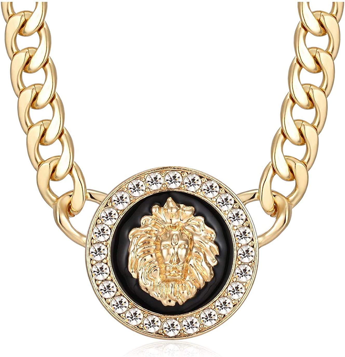 Women's Basketball Wives Style Gold Lion Heads Necklace Hip Hop Statement Chunky Chain Choker Necklace