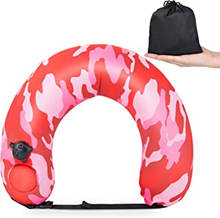 Travel Neck Pillow, Inflatable neck pillow for Airplane Sleeping Bus Car Train Traveling, 360° Head Chin Neck Support U-Sh...