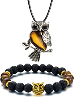 Softones Owl Necklace Healing Crystals Necklace for Women Men Reiki Spiritual Energy Gemstone Necklace Lava Owl Bracelet Set Gifts for Women with Gift Box
