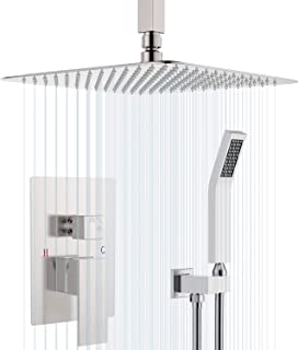 SunCleanse Ceiling Shower System-Brushed Nickel Shower Combo Set for Bathroom, Rainfall Shower Faucet Included Rough in Mixer Valve Body and Trim