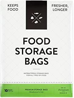 Formaticum Food Storage Bags - keeps all food fresher longer.  Preserve Produce, Fruits, Vegetables, Meat, Cheese, Seafood and Baked Goods (1 pack, 10 bags)