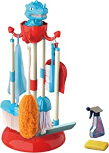 INNOCHEER Kids Dinosaur Cleaning Toy Set, Pretend Play Household Cleaning Tools W/ Broom, Mop, Brush, Duster, Organizing Stand & Squirt Bottle, Gifts for 3 4 5 6 Year Old Toddler Girls Boys Children