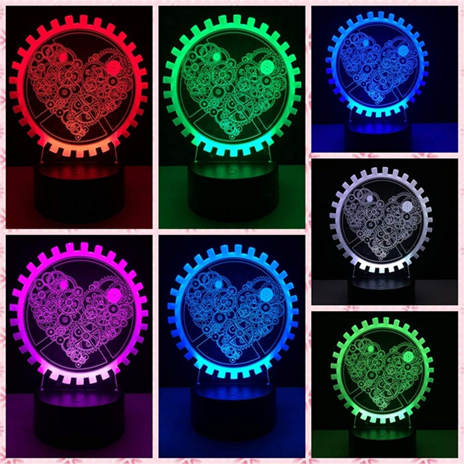 RTFC Night Light USB Led Light Heart Shape Gear 3D Romantic Decoration colorful Luminous Girlfriend Gift