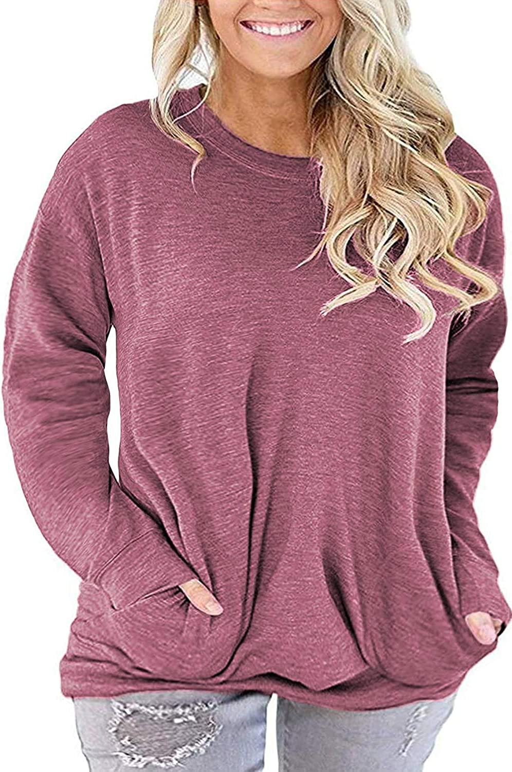 QUEEN PLUS Womens Plus Size Long Sleeve Tunic Tops Casual Baggy Tee Shirts with Pockets