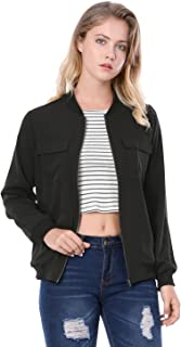 Allegra K Women's Zip Up Pocket Lightweight Classic Bomber Jacket