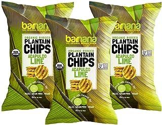 Barnana Organic Plantain Chips - Acapulco Lime - 5 Ounce, 3 Pack Plantains - Barnana Salty, Crunchy, Thick Sliced Snack - ...