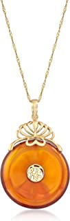 "Ross-Simons 22mm Amber Chinese""Fortune"" Symbol Pendant in 14kt Yellow Gold"