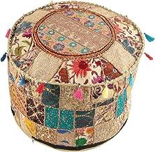 NANDNANDINI - Mooie handgemaakte kerst decoratieve Indiase Vintage Ottomaanse Poef Cover,Patchwork Ottoman, woonkamer Patc...