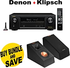 Denon AVR-X1200W 7.2 Channel Full 4K Ultra HD A/V Receiver with Bluetooth and Wi-Fi + Klipsch RP140SA Black (Pr.) Add-on Dolby Atmos Height Speakers Bundle
