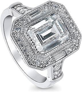 BERRICLE Rhodium Plated Sterling Silver Emerald Cut Cubic Zirconia CZ Statement Halo Art Deco Milgrain Engagement Ring 2.7 CTW