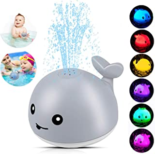 Baby Bath Toys,Whale Bath Toys for Toddlers Auto Water Spray Toy with LED Light,Induction Shines Sprinkler Fountain Baby S...