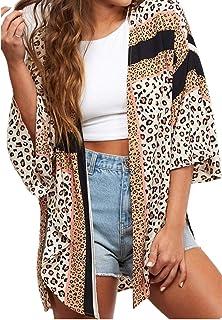Womens Summer Tops Kimono Cardigans Leopard Print Chiffon Shirts Loose Casual Beach Cover ups