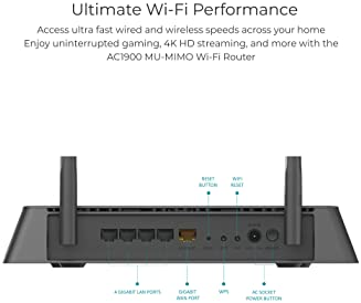 D-Link WiFi Smart Router AC1900 Wireless Dual Band MU-MIMO Powerful Dual Core Processor Fast Gaming & 4K Streaming Re...