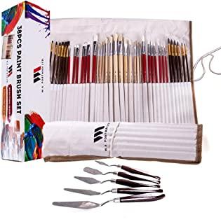 WA Portman Artist Paint Brush Set and Painting Knives for Acrylic Watercolor Gouache Oil Face Body Painting I 38 pc Assorted Synthetic Paint Brushes with 5 pc Palette Knife Set in Canvas Travel Case