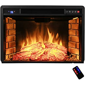 """AKDY 28"""" Freestanding Electric Fireplace Insert Heater in Black with Tempered Glass and Remote Control"""