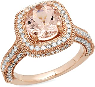 10K 7.5 MM Round Gemstone & White Diamond Ladies Halo Style Bridal Engagement Ring, Rose Gold